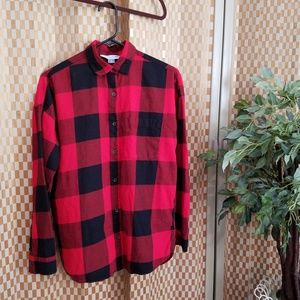 Old Navy Boyfriend Shirt Red/Black Check Sz S Pet